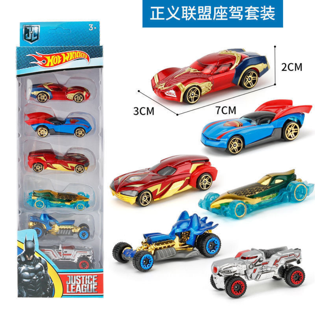 6PCS Wheels Batman Batmobile Patrol Avengers Justice League Car Model Toy Vehicle Diecast Gift Collection  League Alloy