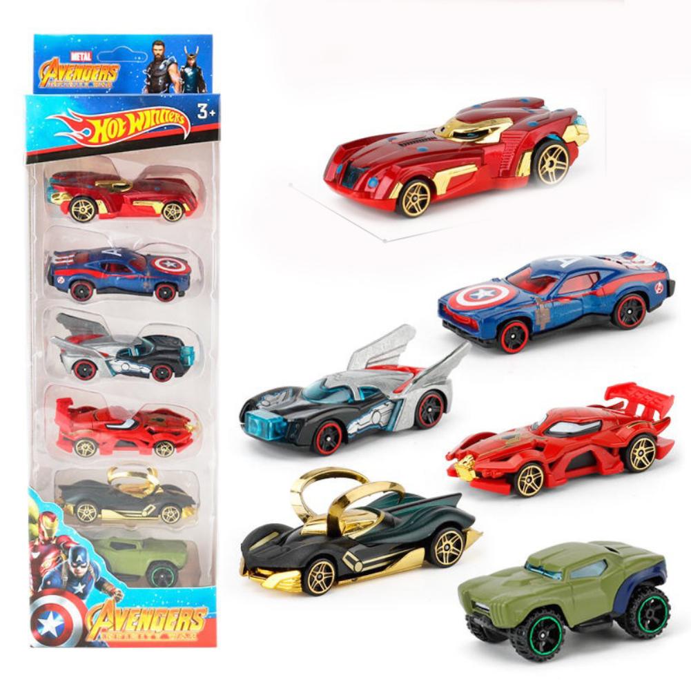 6PCS Wheels Batman Batmobile Patrol Avengers Justice League Car Model Toy Vehicle Diecast Gift Collection Avengers Alloy