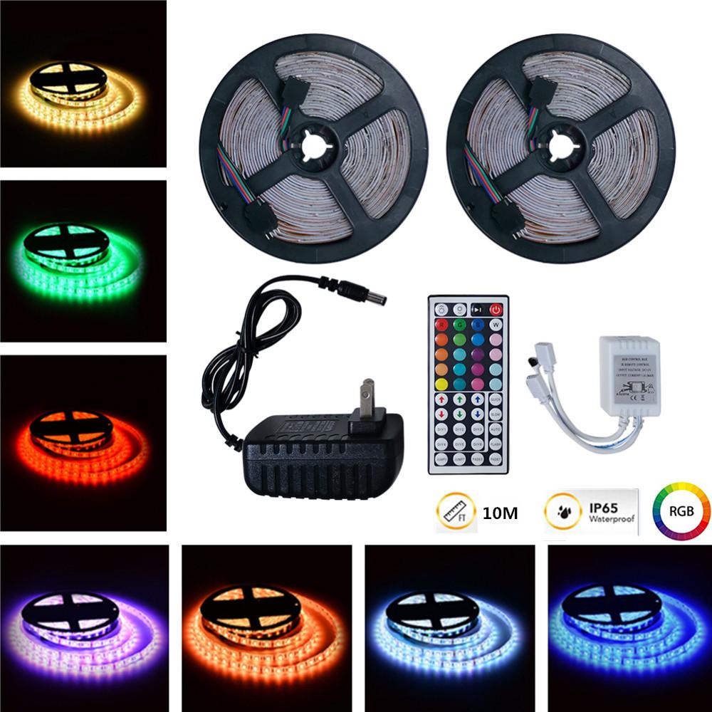10M RGB LED Waterproof Strip Lights+44Keys Remote Control+Adapter U.S. regulations