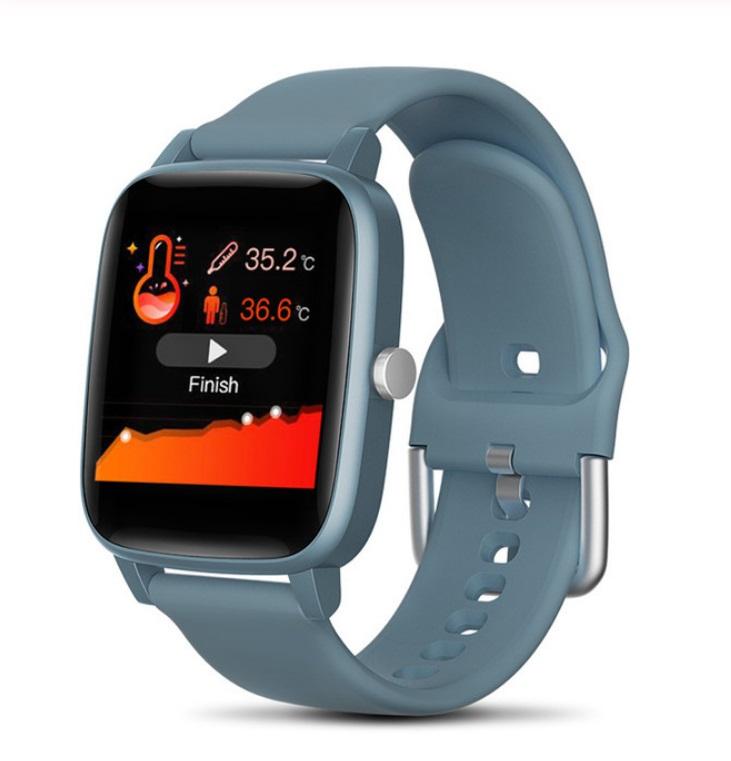 T98 Smart Watch Body Temperature Heart Rate Blood Pressure Monitor Sports Tracker Fitness Men Women Smart Bracelet Smartwatch blue