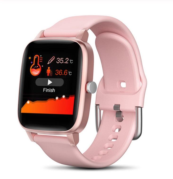 T98 Smart Watch Body Temperature Heart Rate Blood Pressure Monitor Sports Tracker Fitness Men Women Smart Bracelet Smartwatch Pink