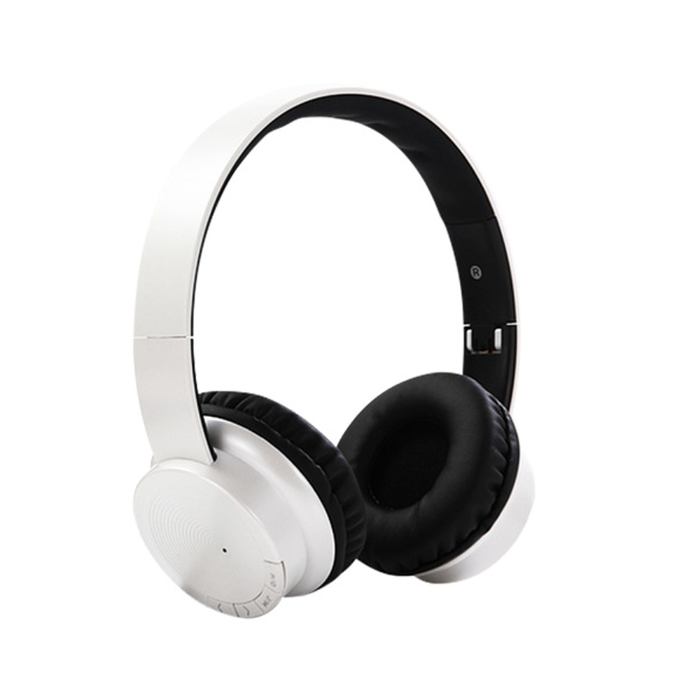 Head-mounted Foldable Plug In Card Heavy Bass Stereo Bluetooth Headset white
