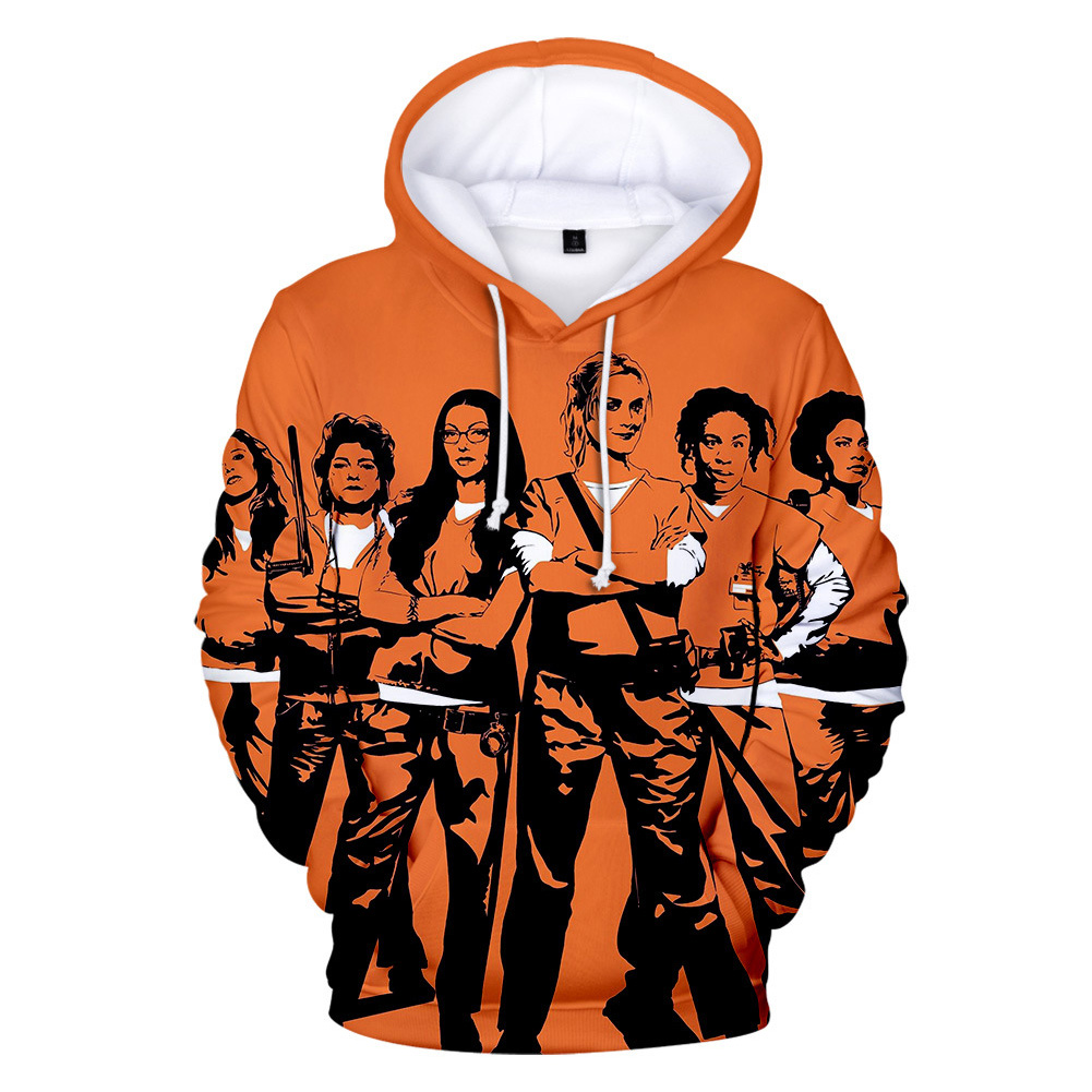 Couple Women Men American Drama Orange Is the New Black 3D Printing Hoodie Tops 1#_L