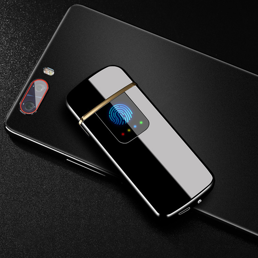 [Indonesia Direct] Portable Ultra-thin Windproof Touch Sensor Cigarette Lighter USB Rechargeable Metal Flameless Lighters Black ice_WD839