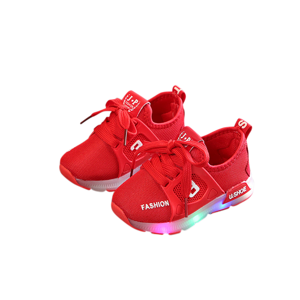 [Indonesia Direct] Unisex Children LED Light Shoes Sports Casual Anti-skid Baby Breathable Shoes  red_24 inner length 14.5cm
