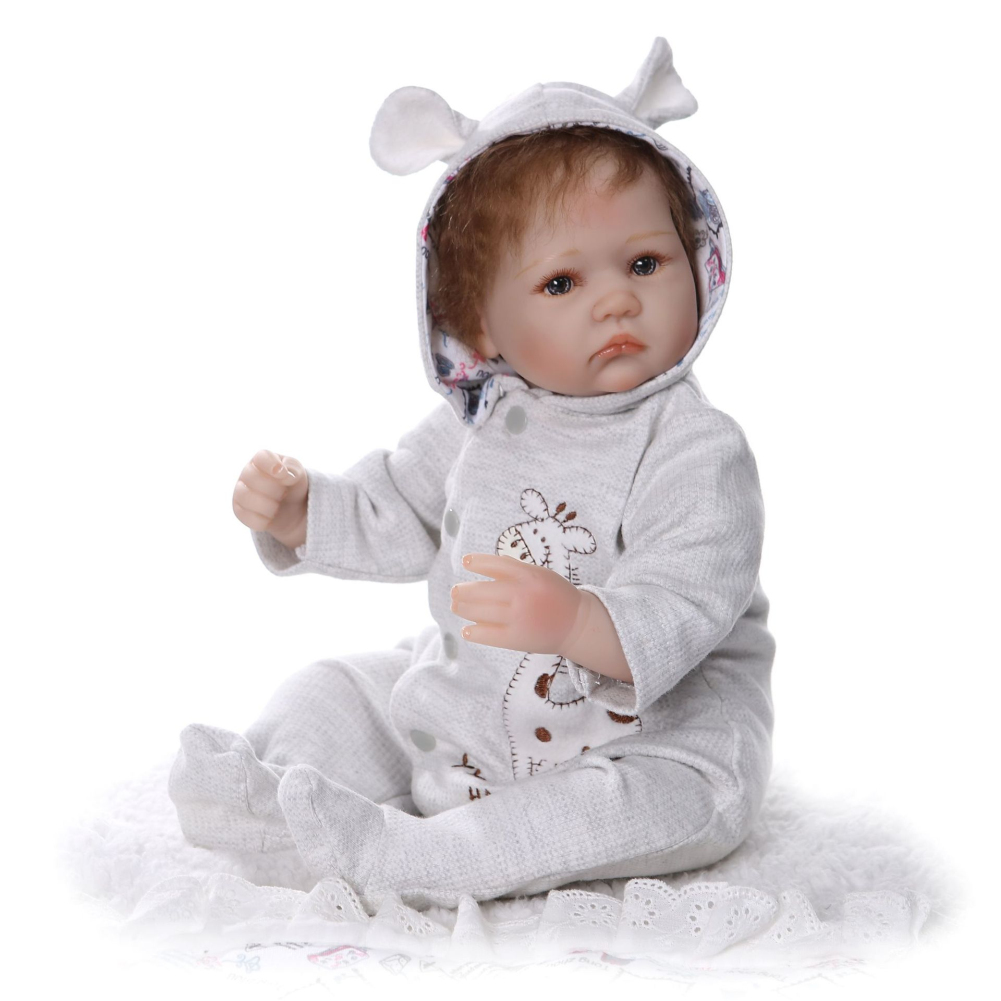 40cm Realistic Soft Body Baby Doll Toy Simulation Nipple Simulation Feeding Bottle No Bottle blue