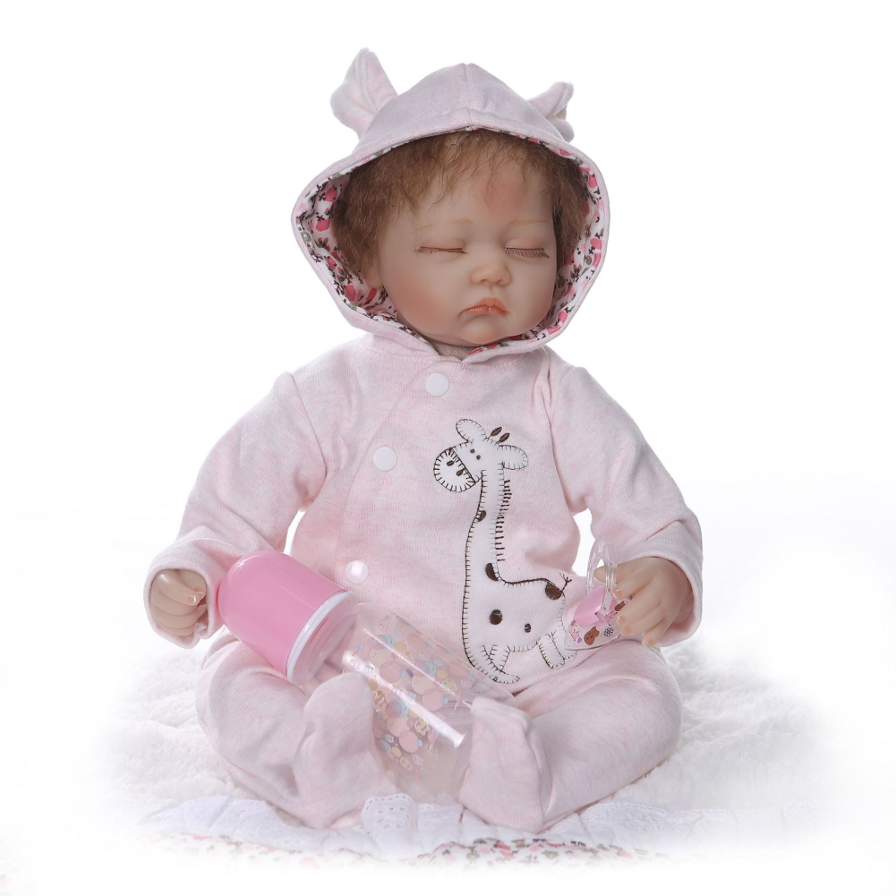 40cm Realistic Soft Body Baby Doll Toy Simulation Nipple Simulation Feeding Bottle No Bottle Pink