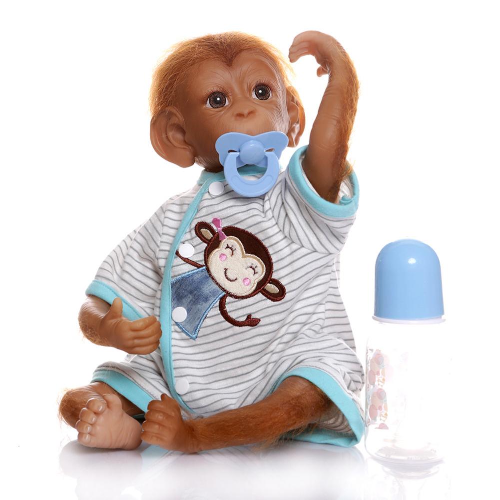 NPK Simulate Silicone Monkey + Simulation Nipple + Feeding Bottle Toy As shown