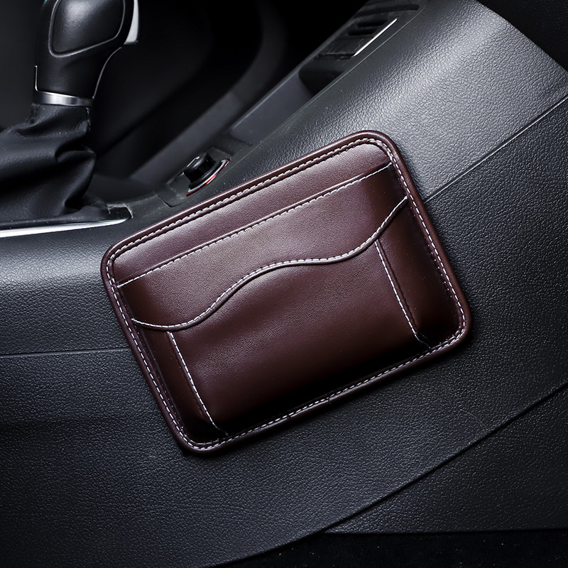 Leather Car Storage Pouch Multifunctional Hanging Bag Mobile Phone Case Storage Bag Storage Box Brown