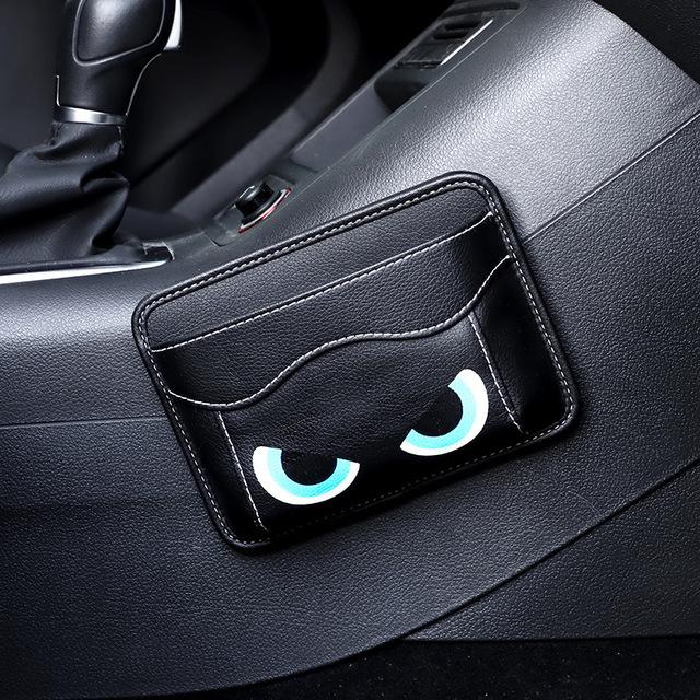 Leather Car Storage Pouch Multifunctional Hanging Bag Mobile Phone Case Storage Bag Storage Box Black eyes