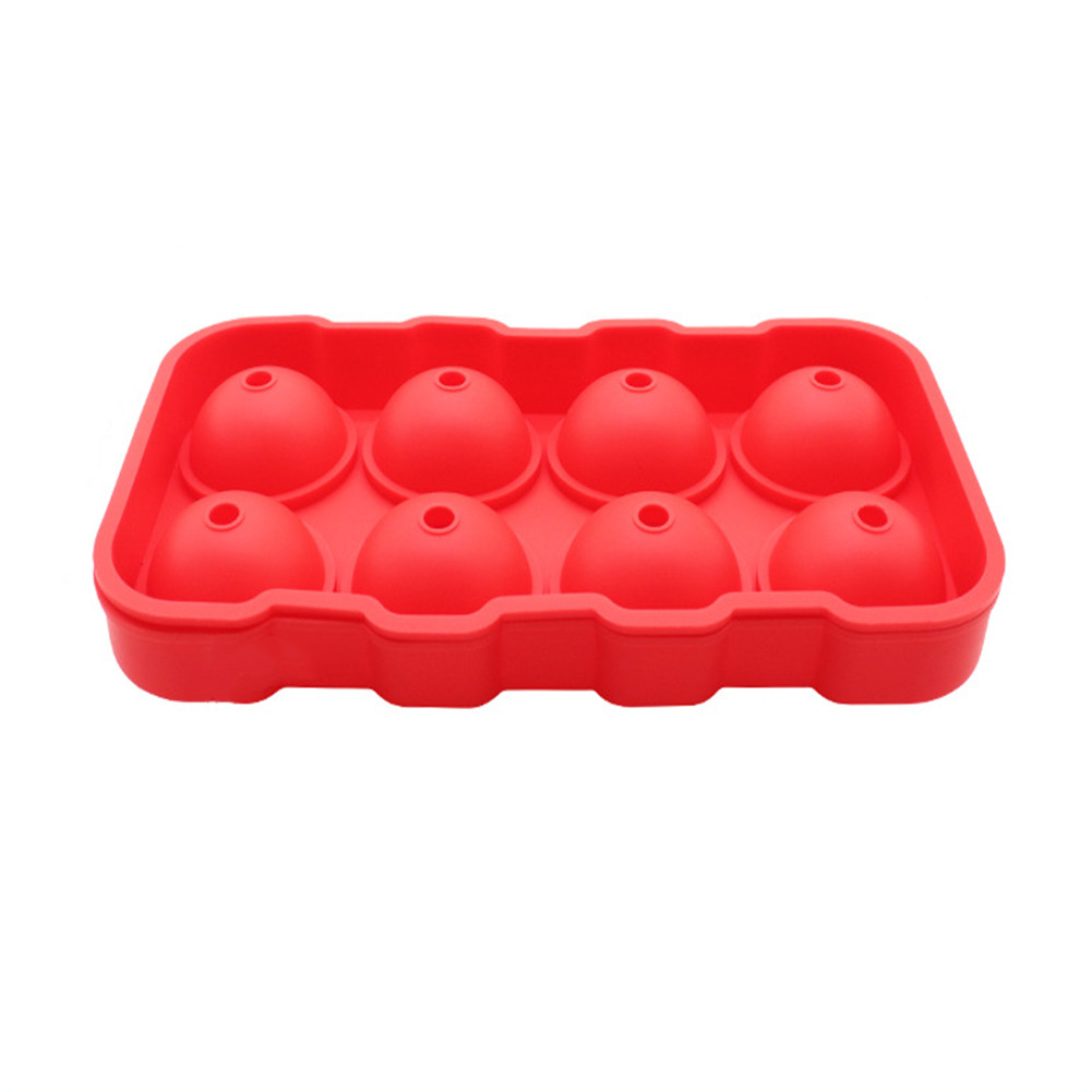 Silicone 8-ball Ice Freeze Mold Ice Ball Tray Frozen Ice Sphere Mold Cube Red
