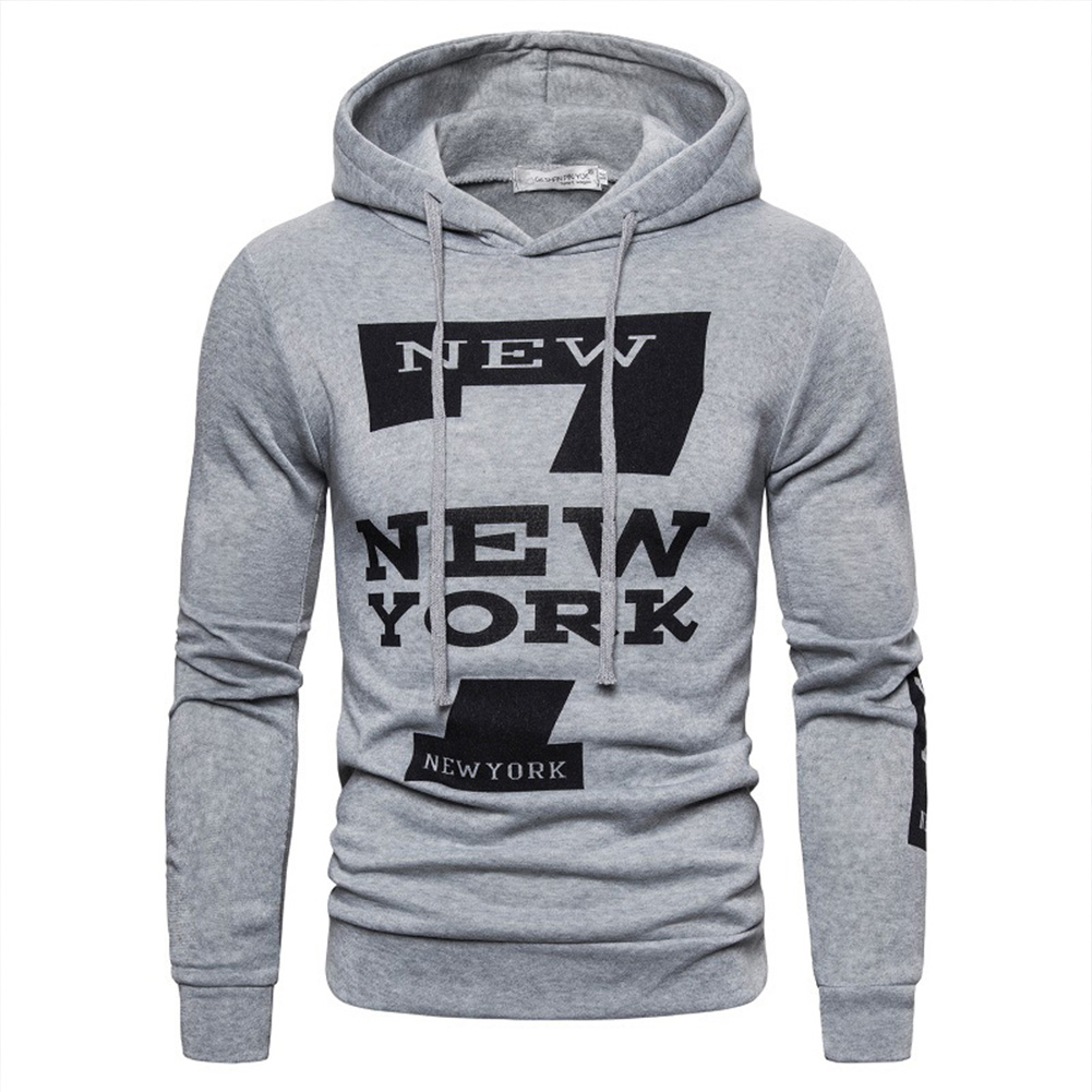 Men Hoodie Sweatshirt New York 7 Printing Drawstring Loose Male Casual Pullover Tops Gray_M