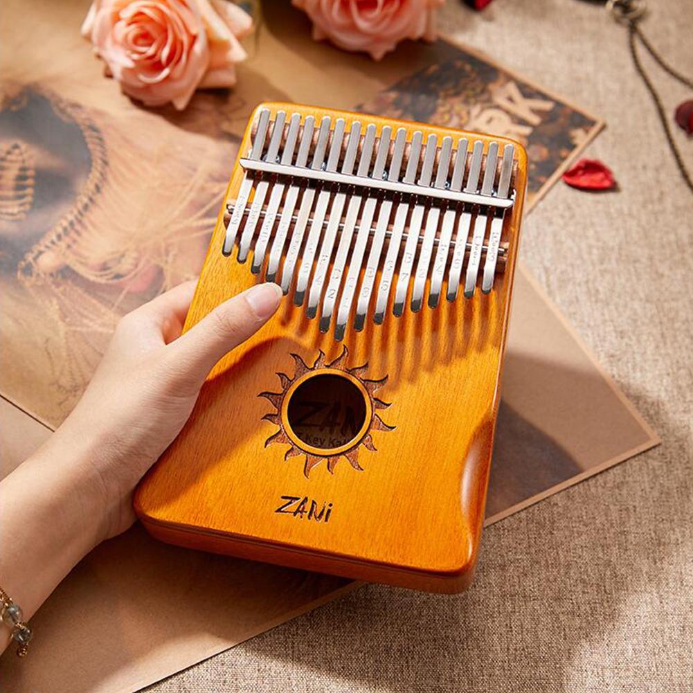 17-tone Kalimba Mahogany Core Thumb Piano with Tuning Hammer Wood color_Zani Helios