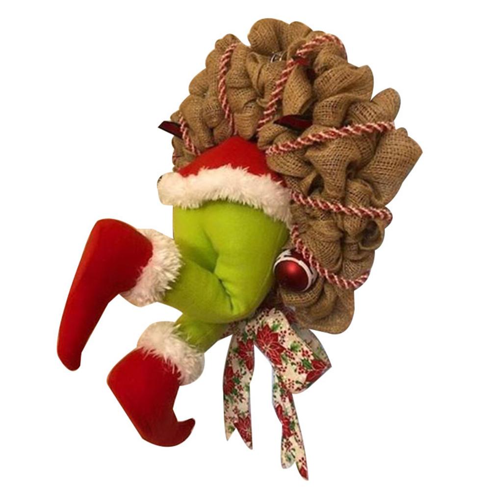 How the Grinch Stole Christmas Burlap Wreath Xmas Thief Stole Santa Garland large