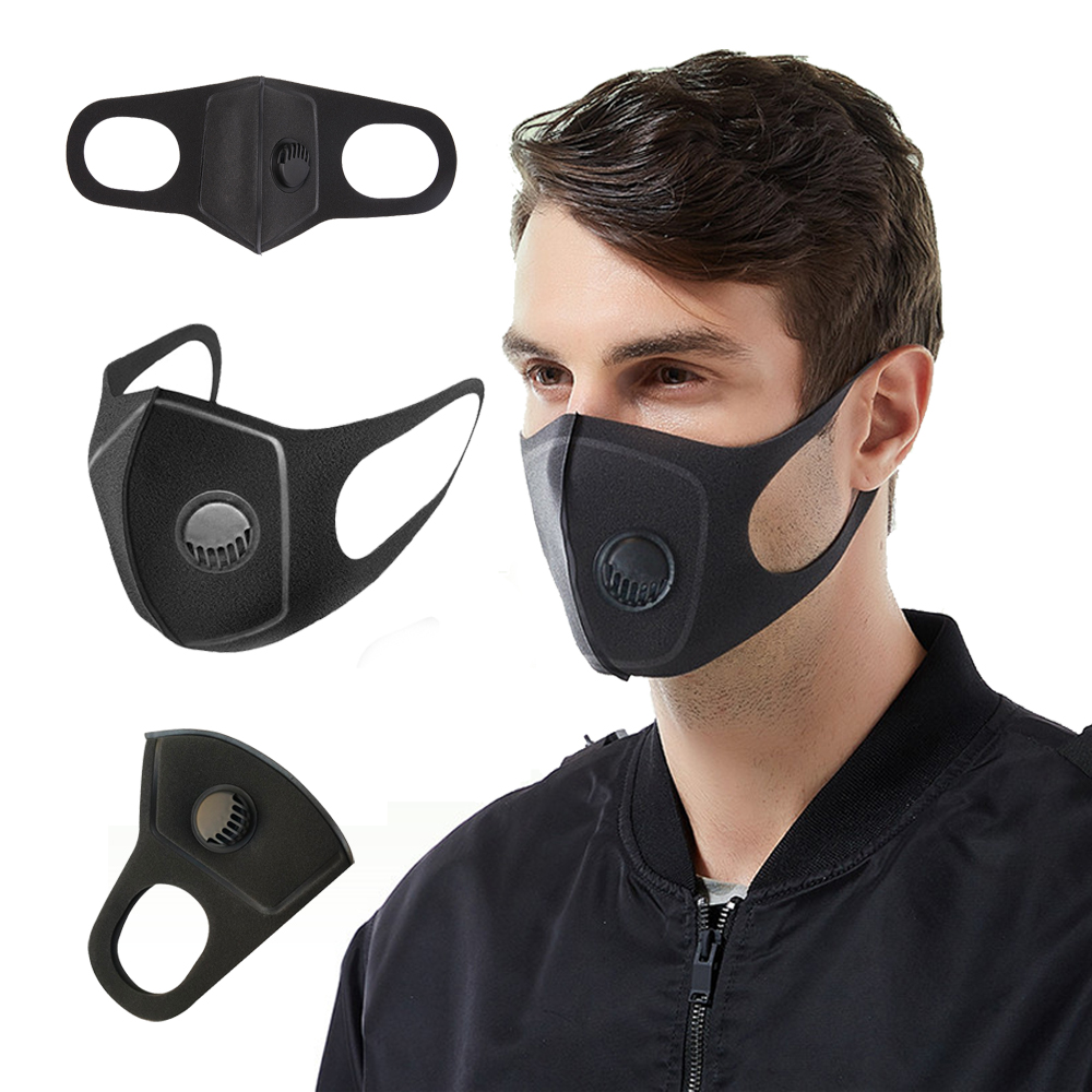 Anti Dust Mask Anti PM2.5 Pollution Face Mouth Respirator Black Breathable Valve Mask Filter 3D Mouth Cover black_1 pc