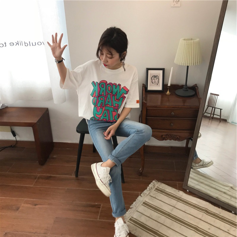 Women Casual Loose Letter Printing Short Sleeve T-Shirt