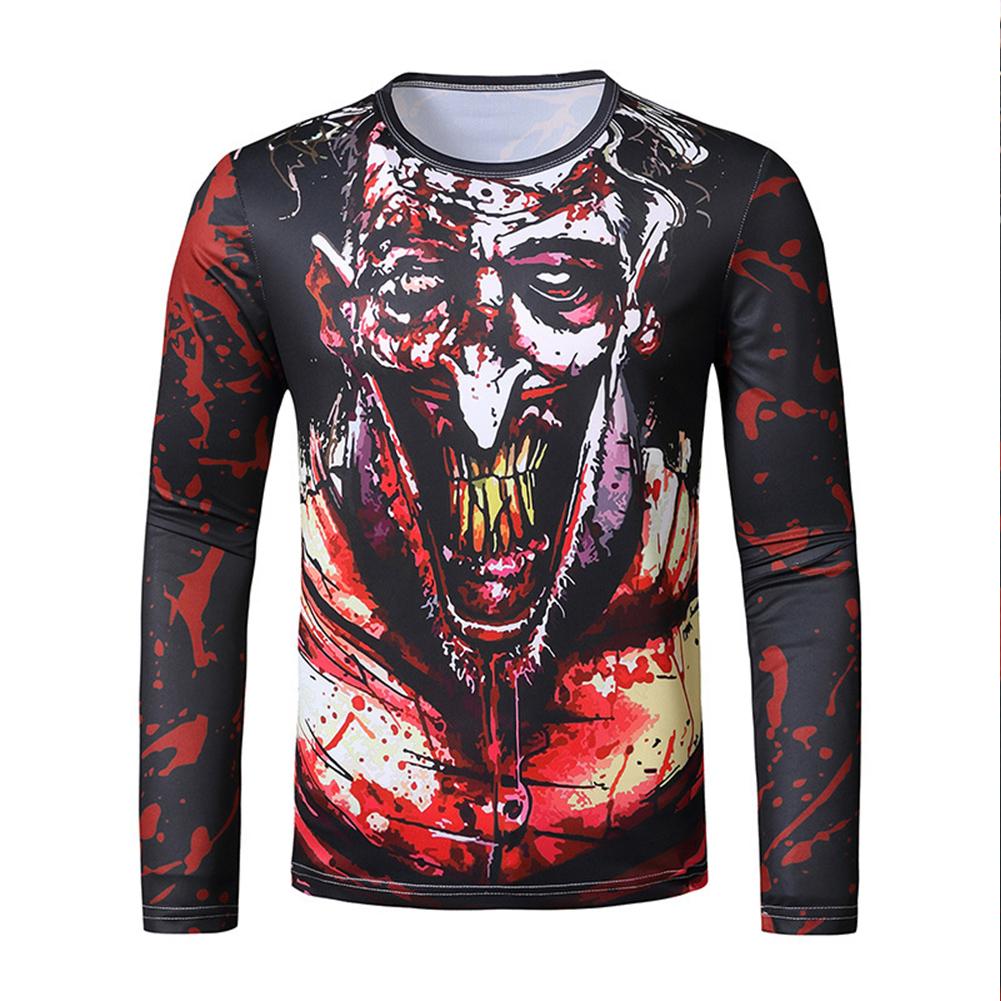 Men Long Sleeve T Shirt 3D Digital Printing Round Collar Halloween Horror Theme Tops Red_2XL