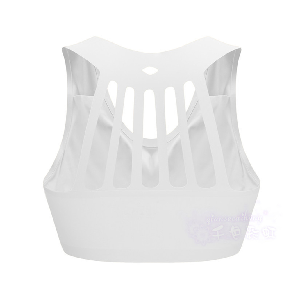 Women's   Underwear  Vest-style  Running  Gather  Stereotypes  Fitness  Sports  Bra white_XXL
