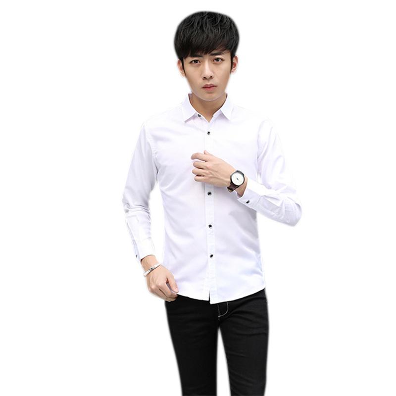 Men Fashion Slim Shirt Long-sleeved Pure Color No Ironing Lapel Collar Tops white_XL