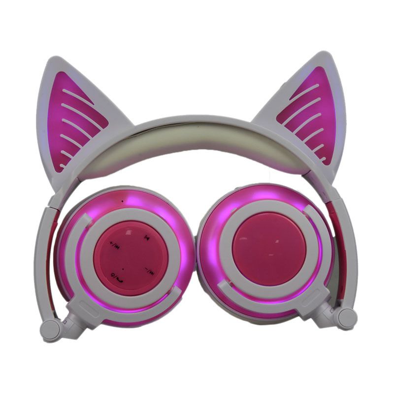 Cute Cat Ear Rechargeable Gaming Headset with LED Lights Colorful Over Ear Foldable Headphones with Mic for Cell Phone  Pink