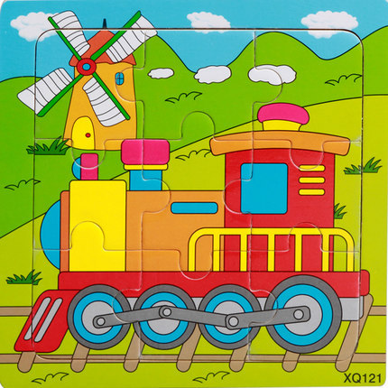 9 Slices Kids Wooden Vehicle Pattern Puzzles Jigsaw Baby Educational Learning Toy train