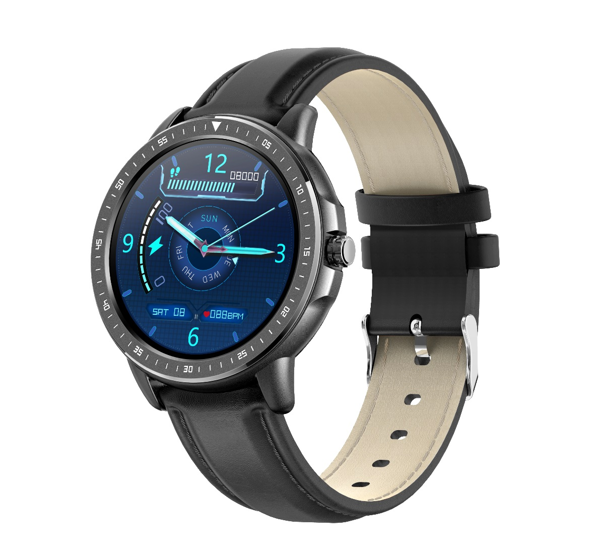 CF19 Smart Bracelet Round Dial 240*240 Touch Screen Heart Rate Monitor Step Counts IP67 Waterproof Wristwatch black