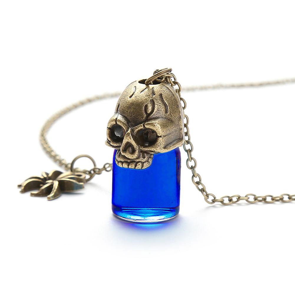Women's Necklace Gothic Style Glass Bottle Pendant Gronze Necklace blue