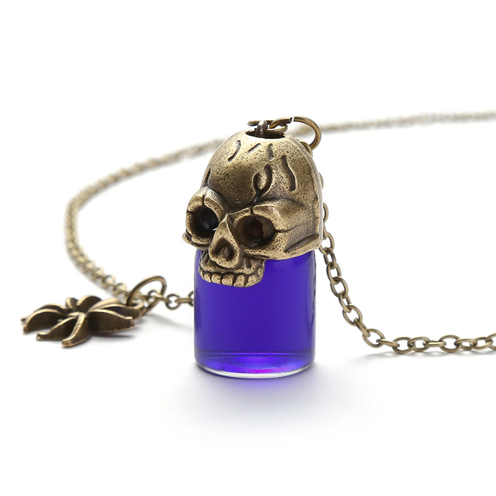 Women's Necklace Gothic Style Glass Bottle Pendant Gronze Necklace purple