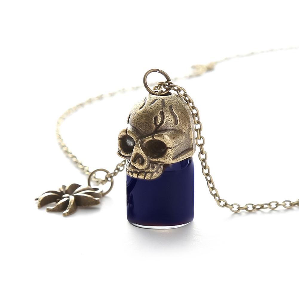Women's Necklace Gothic Style Glass Bottle Pendant Gronze Necklace black