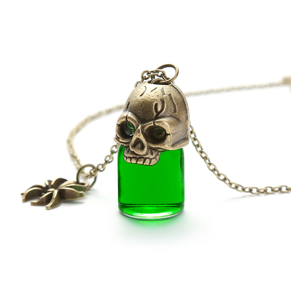 Women's Necklace Gothic Style Glass Bottle Pendant Gronze Necklace green