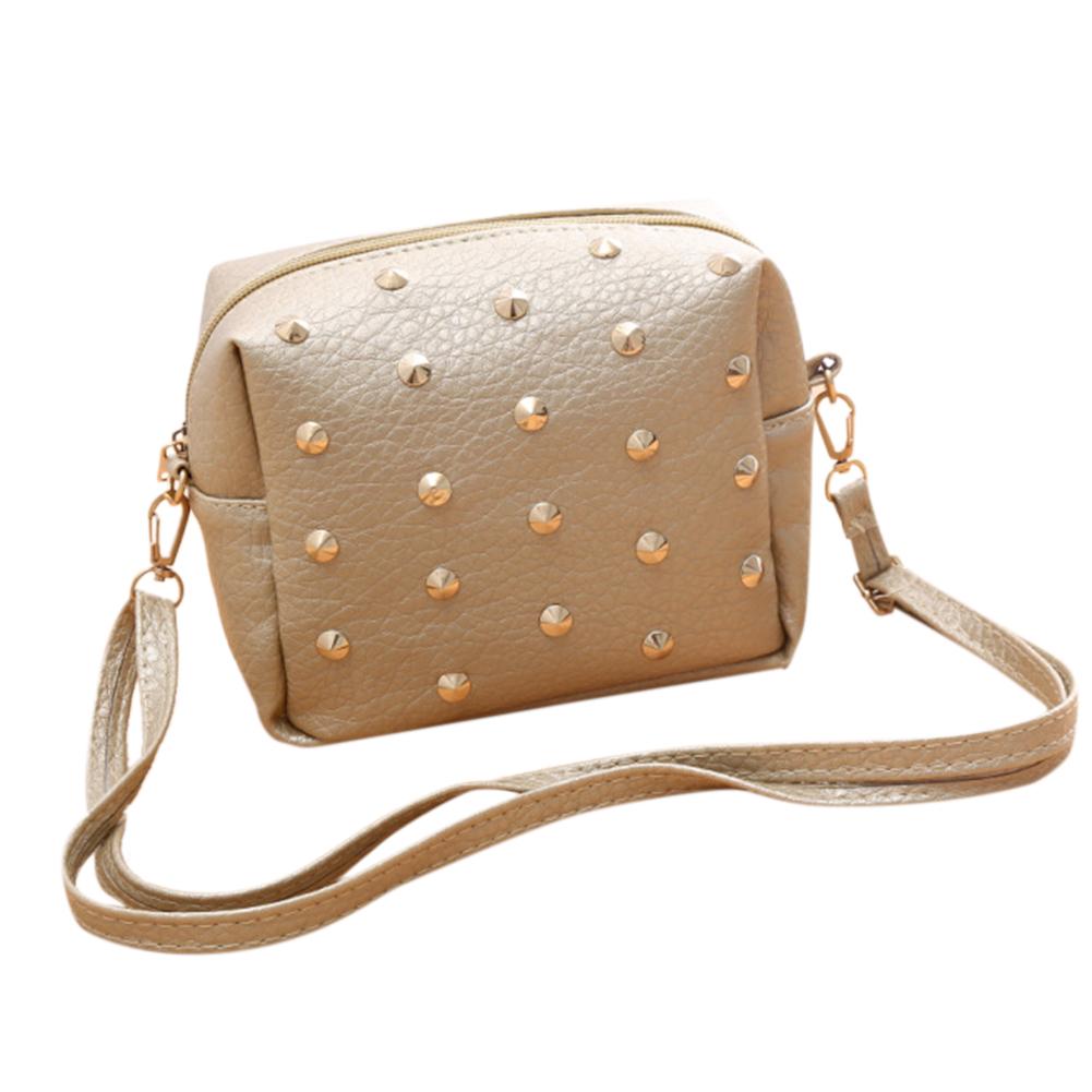 Women Xmas Gift Fashion Rivet Trim Antiwear PU Satchel Handbag Single Shoulder Oblique Cross Bag