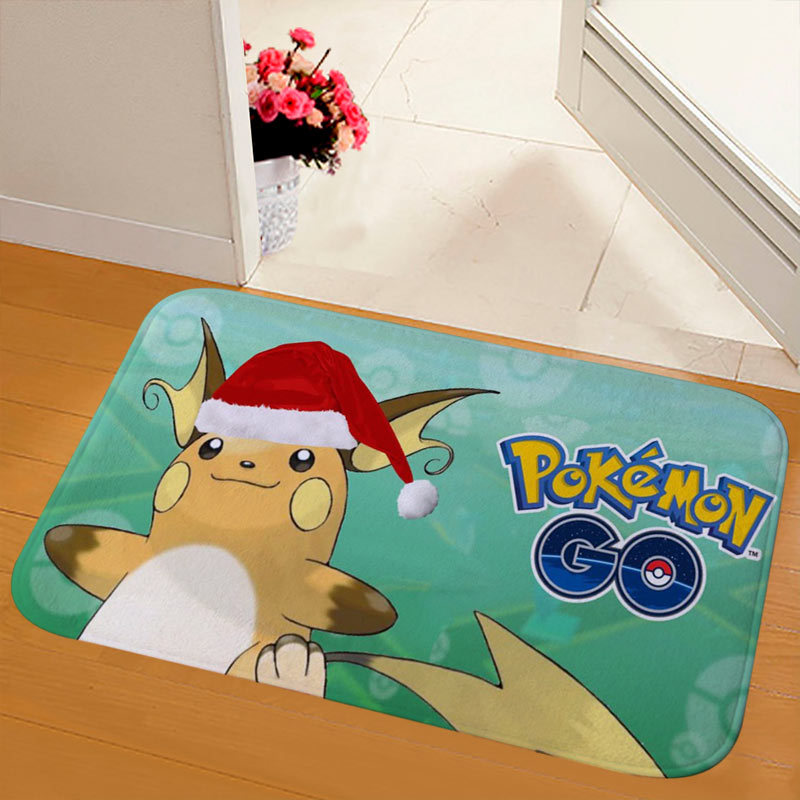 New Christmas Snowman Printed Soft Flannel Floor Mat Bathroom Anti Slip Mat Rug green_50*80cm
