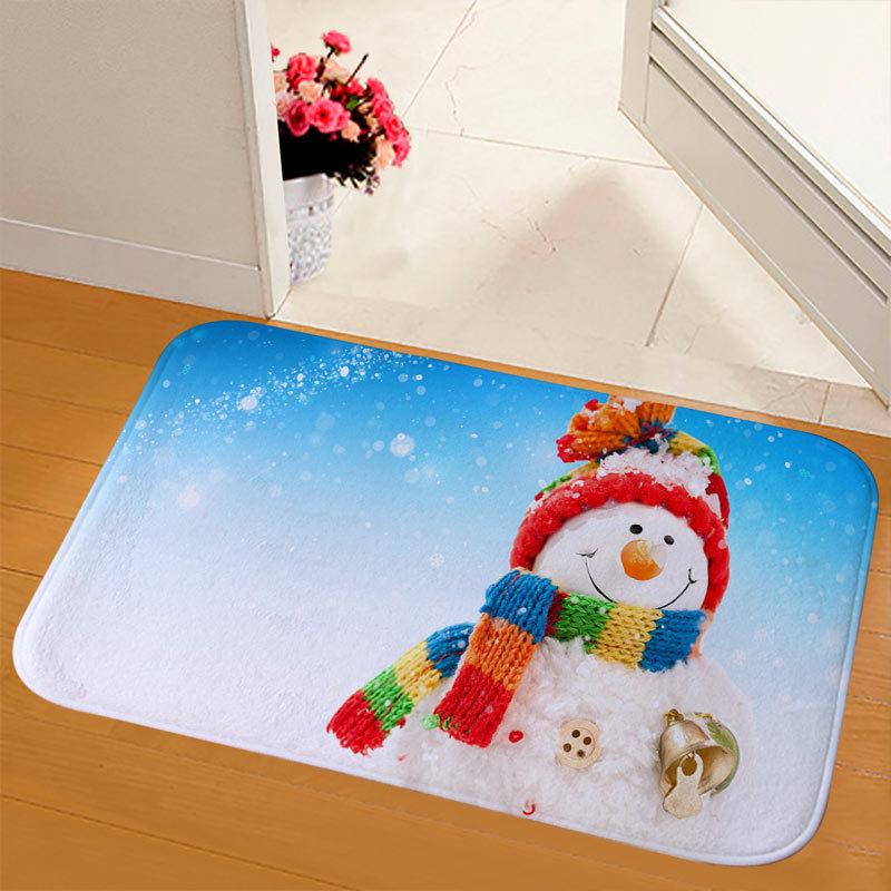 New Christmas Snowman Printed Soft Flannel Floor Mat Bathroom Anti Slip Mat Rug blue_40*60cm