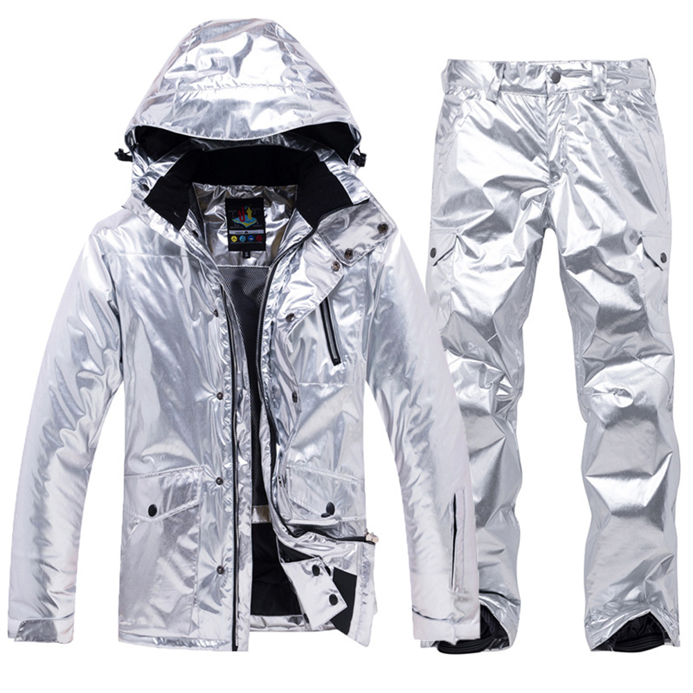 Shiny Sports Snowboard Jacket Waterproof Skiing Outfits Warm Overalls for Man Woman Silver_XXL