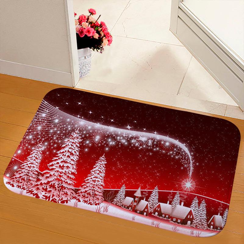 New Christmas Snowman Printed Soft Flannel Floor Mat Bathroom Anti Slip Mat Rug light grey_40*120cm