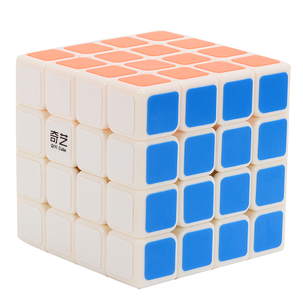 [US Direct] Brain Teaser G4 Magic Cube 4x4 Sticker Twisty Puzzle Competition Speed Cube White