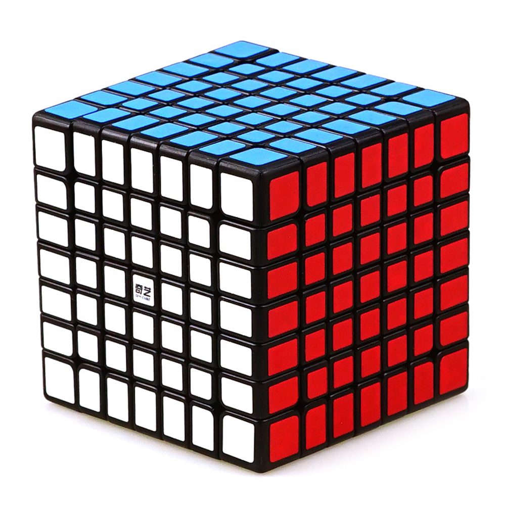 [US Direct] 7X7 Colorful Magic Cube Brain Teaser Adult Releasing Pressure Puzzle Speed Cube Toy Gift black bottom