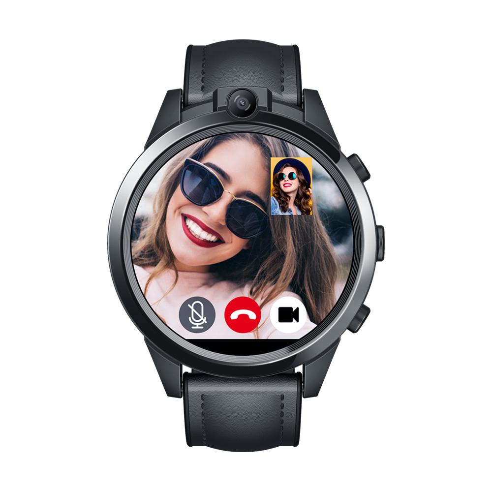 Original ZEBLAZE Smartwatch Ceramic Bezel 3gb+32gb 800mah Gps Watch Gift Leather Strap Dual Camera 4g Smart Watch black