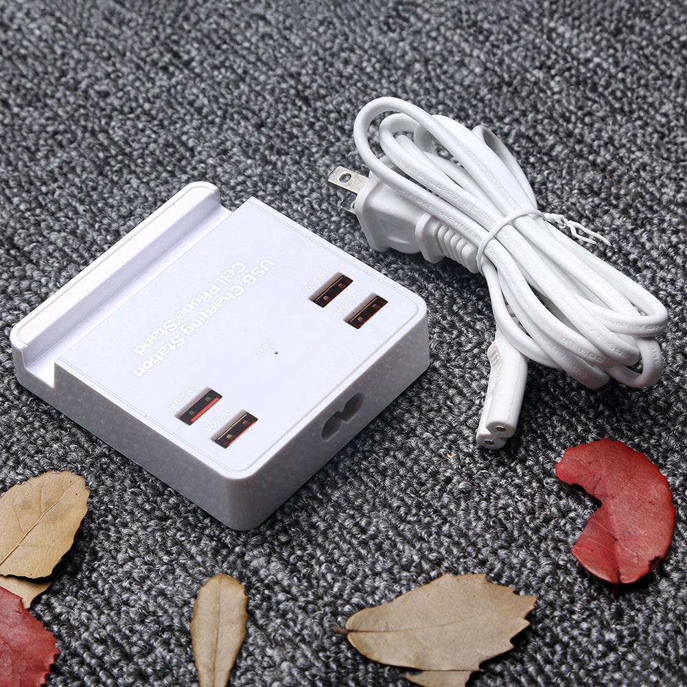 4 USB Ports Mobile Phone Travel Charger Fast Charge Multi-port Smart Bracket USB Charger US Plug