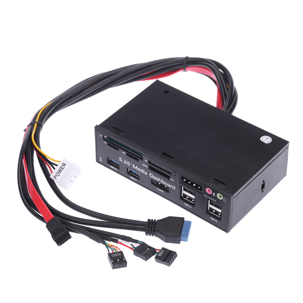 Media Dashboard Supply Optical Drive Multi-functional Front Panel USB3.0 Hub + Card Reader + E-sata + Headset + 12V5V Black