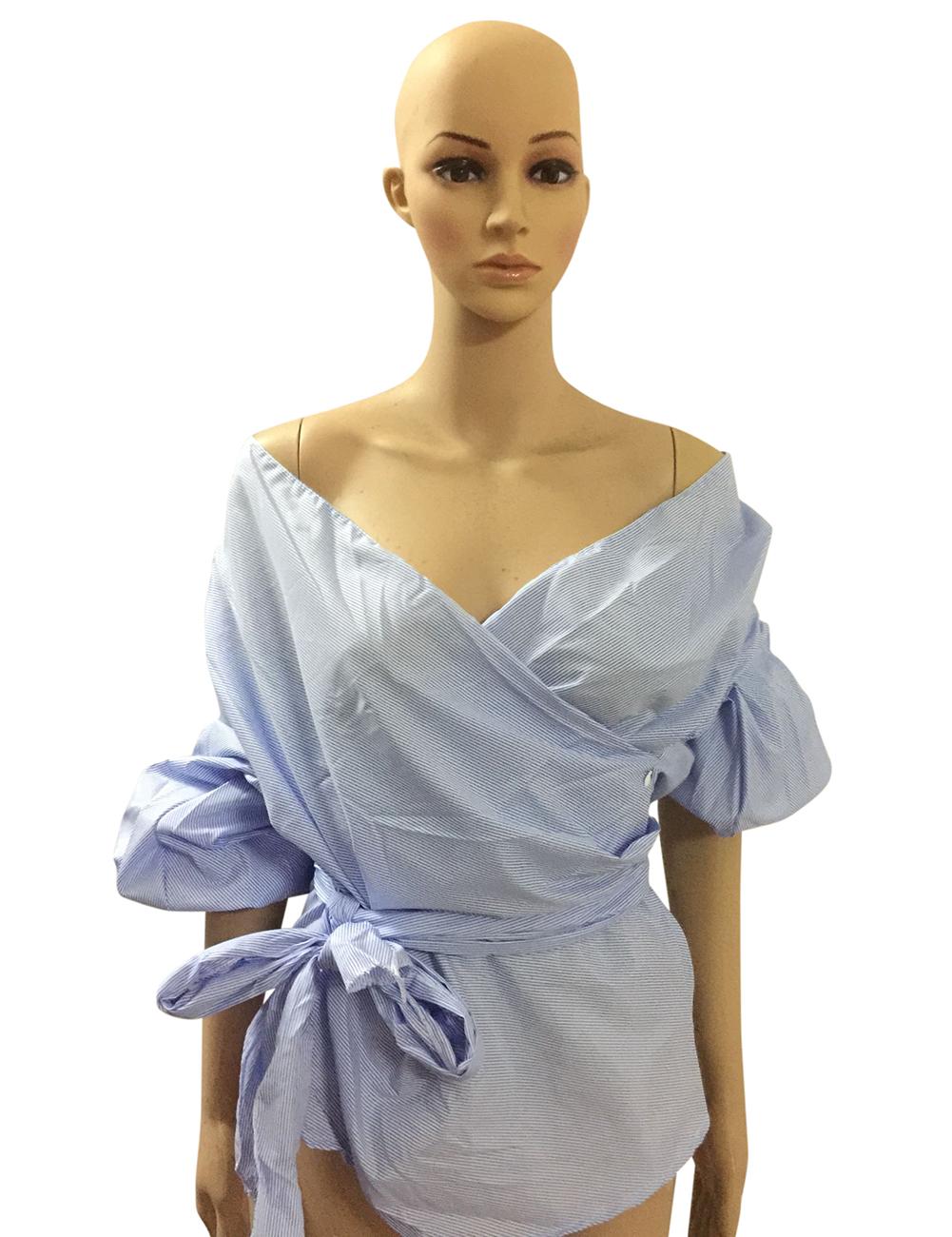Women Solid Color V-Collar Bandage Tops Slim Design Puff Sleeve Off-shoulder Sexy Tops Shirt