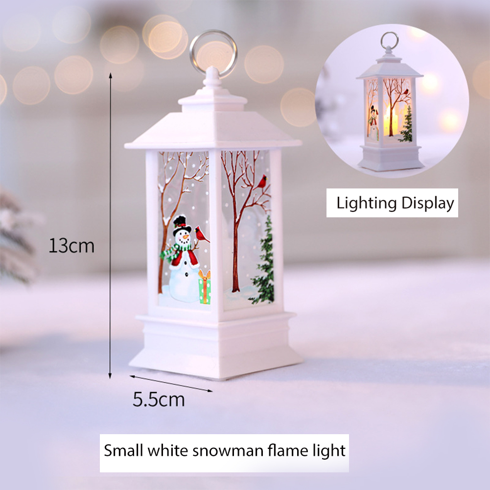 Christmas Outdoor Lights Decoration Vintage Xmas Candle with LED Flame Lamp Fireless Holiday Hanging Ornaments 2#