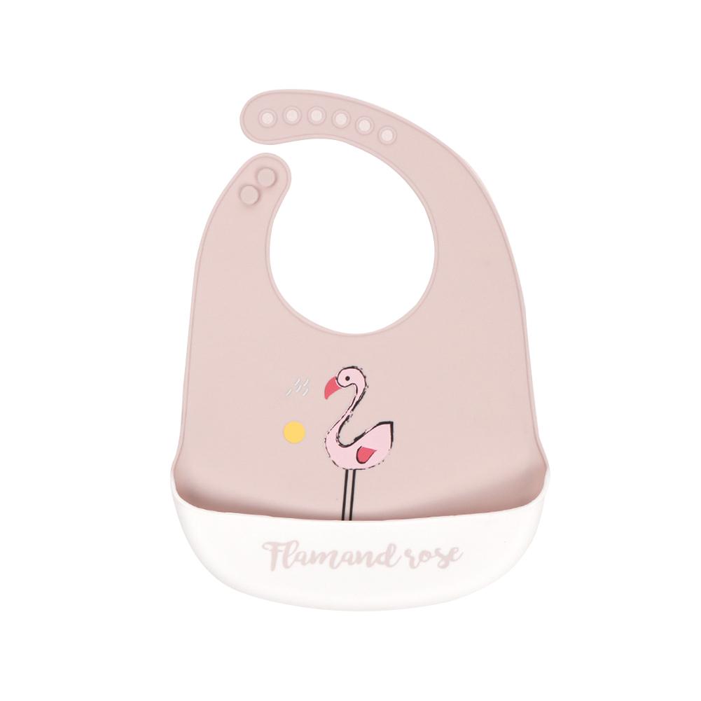 Silicone Baby Bib Adjustable Fit Waterproof Baby cartoon silicone bib Flamingo