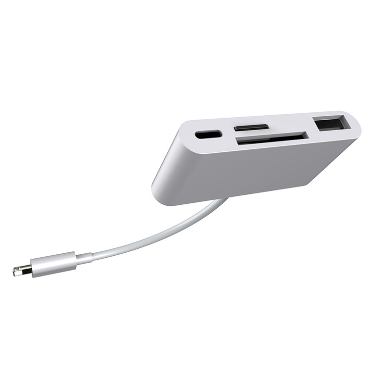 4 in 1 Apple Interface to Card Reader Adapter USB Camera Micro SD Memory Slot for iPhone iPad white