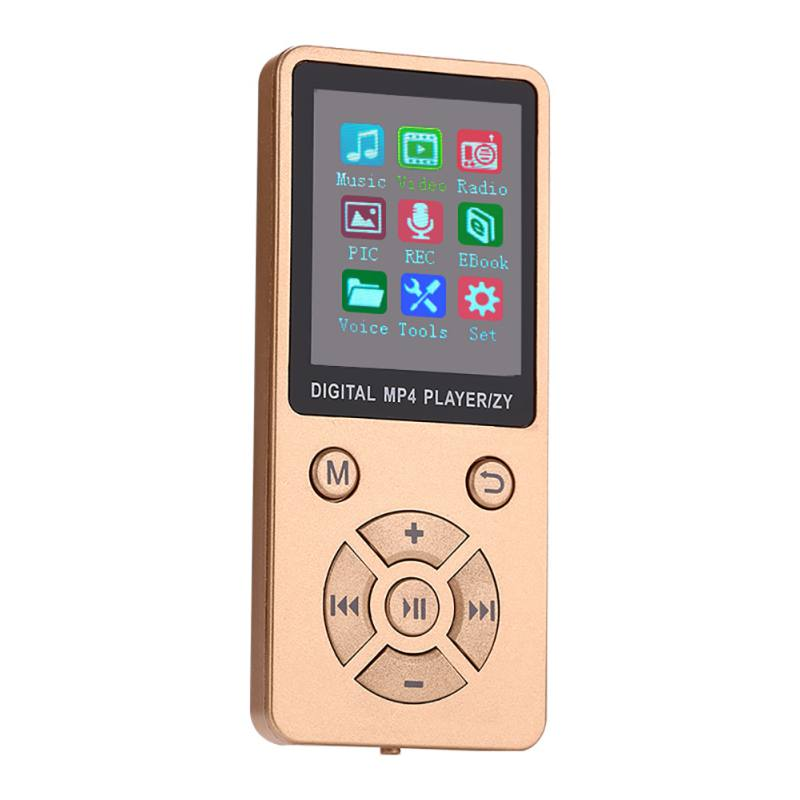 Mini Shiny USB Clip LCD Screen MP4 Media Player Support 32G TF Card Ultra Thin Lossless Sound MP4 Player with FM E-book Gold