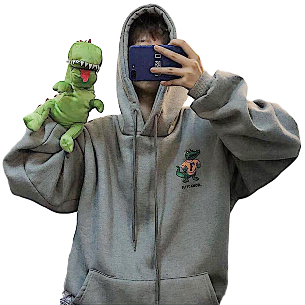Couples Long-sleeved Hoodies Fashion Fleece retro Little Dinosaur cartoon printing pattern Loose Hooded Long Sleeve Top Gray_L