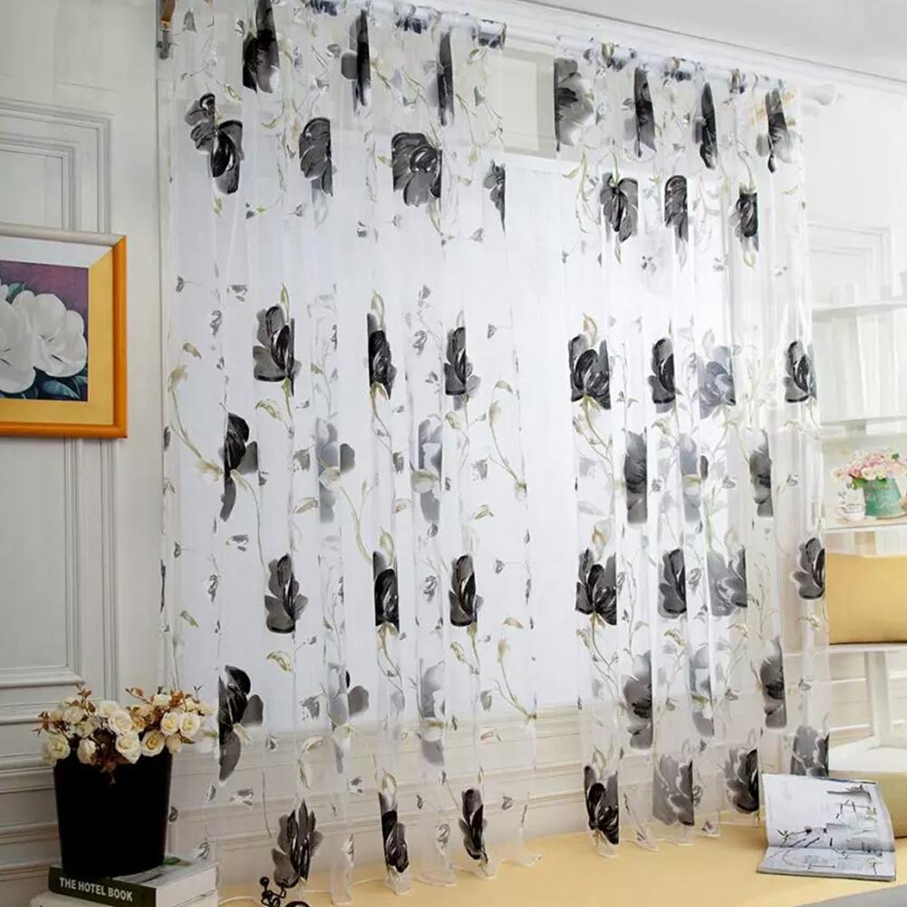 Sheer Vines Leaves Flower Model Tulle Door Window Curtain Drape Panel Scarf Valances black_100X200CM