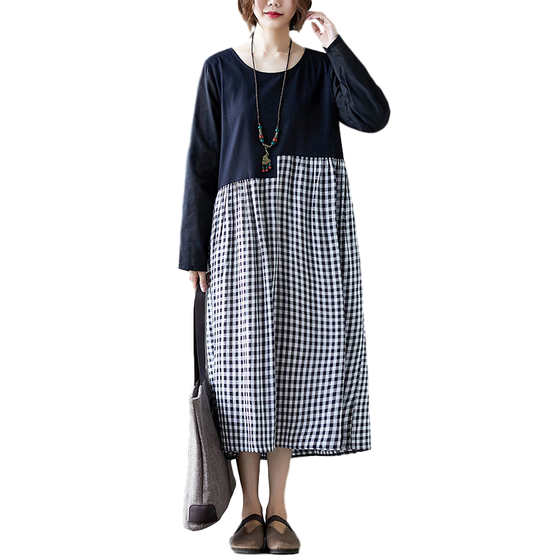 Women Long Sleeve Dress Autumn Winter Loose Oversize Cotton And Linen Dress With Round Neck Long Sleeves black_L