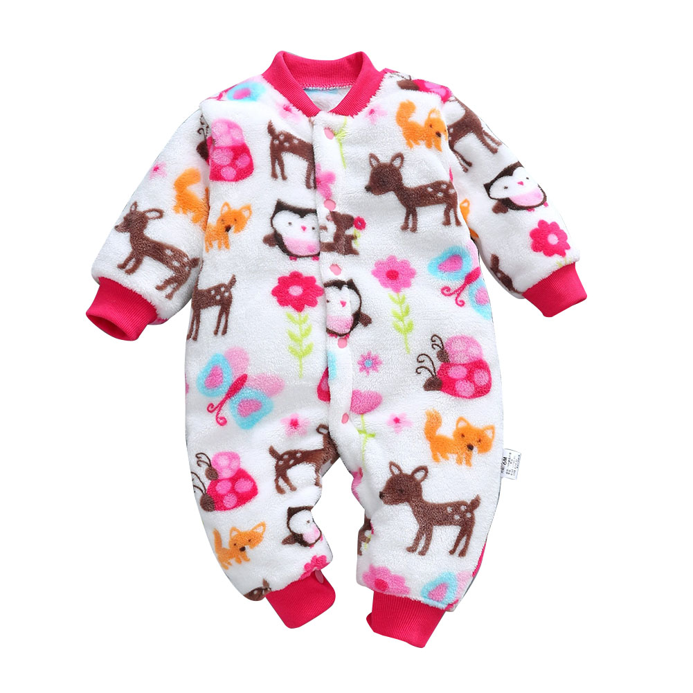 Baby Infants Girls Boys Cartoon Printing Flannel Romper Homewear Animal park_66cm [6M recommended height 66cm]_6M
