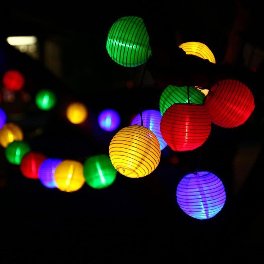 10LEDs/20LEDs/30LEDs Solar Lantern Shape String Light for Landscape Yard Outdoor Decor Solar 10 Lights - Color Lanterns